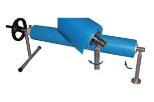 solar pool cover stand with a swivel arm