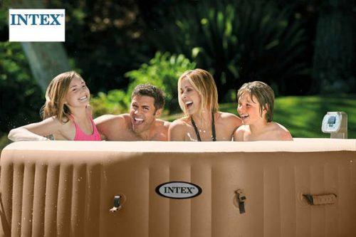 family in intex hot tub